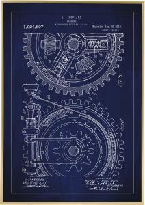 Dessin de brevet - Engrenage - Bleu Poster