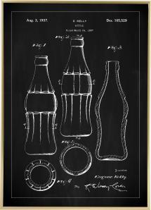 Dessin de brevet - Bouteille Coca Cola - Noir Poster
