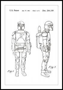 Dessin de brevet - Star Wars - Boba Fett - Blanc Poster