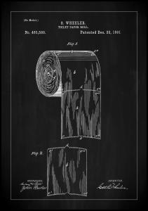 Patent Print - Toilet Paper Roll - Black Poster