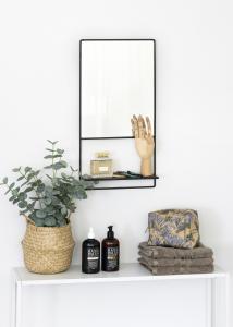 KAILA Miroir avec étagère - Noir 31x60 cm