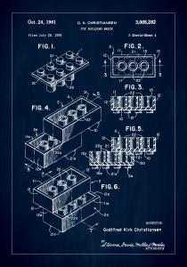 Patent Print - Lego Block I - Blue Poster