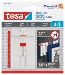 Tesa - Clou autocollant réglable pour tous types de murs (max 2x2kg)