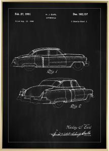 Dessin de brevet - Cadillac I - Noir Poster