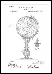 Dessin de brevet - Globe terrestre - Blanc Poster