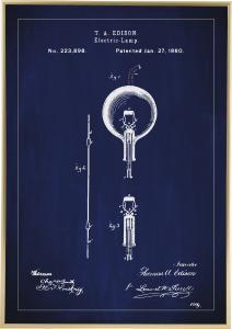 Dessin de brevet - Ampoule à incandescence B - Bleu Poster