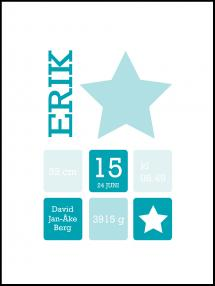 Star Birth Poster Turquoise