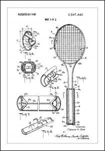 Patent Print - Tennis Racket - White Poster
