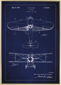 Dessin de brevet - Avion - Bleu Poster