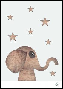 Wood elephant Light Poster