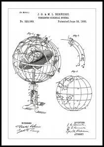 Dessin de brevet - Modèle astronomique - Blanc Poster