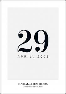 Tableau de naissance Date - Gris