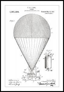Dessin de brevet - Ballon dirigeable - Blanc Poster