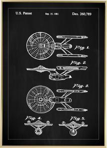 Dessin de brevet - Star Trek - USS Enterprise - Noir Poster
