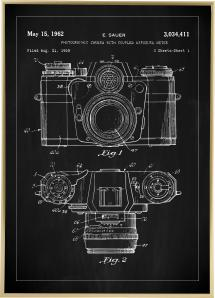 Dessin de brevet - Caméra I - Noir Poster