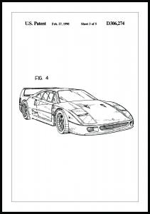 Dessin de brevet - Ferrari F40 II Poster