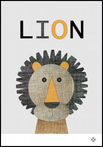 Fabric lion Poster