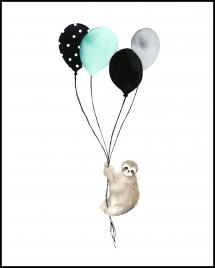 Sloth With Balloons Poster