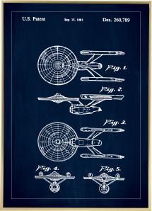 Dessin de brevet - Star Trek - USS Enterprise - Bleu Poster
