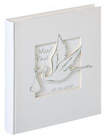 Cicogna Album bébé Blanc - 28x30,5 cm (50 pages blanches / 25 feuilles)