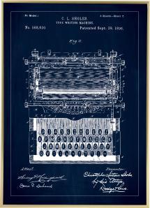 Dessin de brevet - Machine à écrire - Bleu Poster