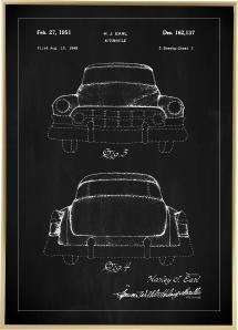 Dessin de brevet - Cadillac II - Noir Poster