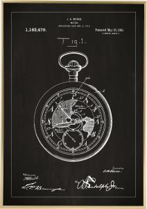 Dessin de brevet - Montre de poche - Noir Poster