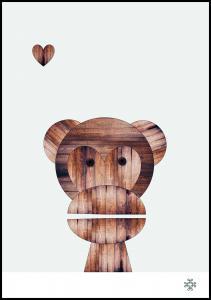 Wood monkey Poster