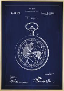 Dessin de brevet - Montre de poche - Bleu Poster