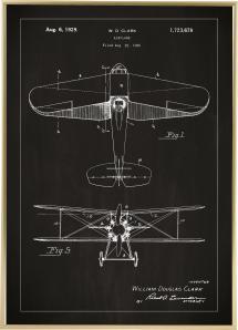 Dessin de brevet - Avion - Noir Poster