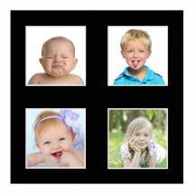 Passe-partout Noir 25x25 cm - Collage 4 Images (9x9 cm)