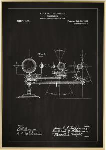 Dessin de brevet - Planétarium - Noir Poster