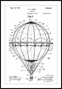 Dessin de brevet - Montgolfière - Blanc Poster