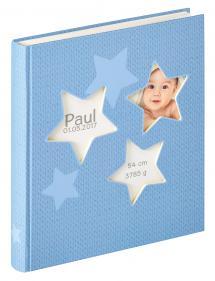 Estrella Album bébé Bleu - 28x30,5 cm (50 pages blanches / 25 feuilles)