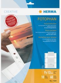 Herma Pochettes photo 9x13 cm Format paysage - lot de 10 - blanc